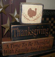 THANKSGIVING FAMILY FRIENDS PRIMITIVE FALL HARVEST BLOCK SIGN