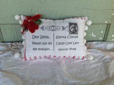 Dear Santa Candy Cane Pillow by friendlythread on Etsy, $28.00