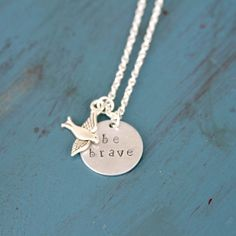 Be Brave Divergent Inspired Hand Stamped Necklace by HelloHandMaid