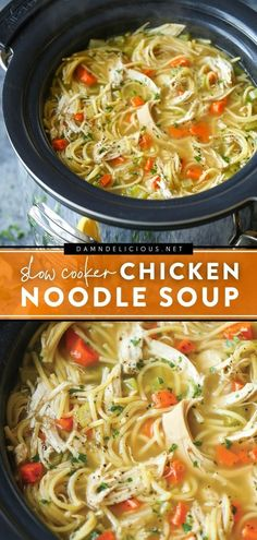 202 reviews · 8.5 hours · Serves 10 · Another reason to love your slow cooker! There's nothing like a crockpot meal with protein, veggies, and broken pieces of spaghetti. Save the best chicken noodle soup recipe for a hearty family dinner… Best Soup Recipes, Chowder Recipes, Easy Delicious Recipes, Healthy Crockpot Recipes, Healthy Cooking, Slow Cooker Recipes, Beef Recipes, Crockpot Meals, Simple Recipes