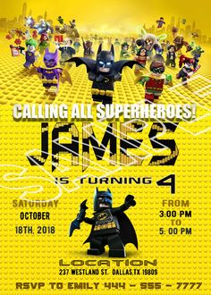 Lego batman invitations with photo lego batman party invitations - Lego Batman - Ideas of Lego Batman - lego batman invitations with photo lego batman party invitations Lego Batman Birthday, Lego Birthday Party, Lego Batman Movie, Batman Stuff, 5th Birthday, Lego Batman Invitations, Birthday Invitations, Batman Party Games, Superhero Party