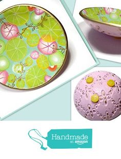 Lemon Mint Ring Dish- Handmade Jewelry Holder-Trinket Dish- Polymer Clay Dish- Home Decor- Gifts for Home- Candle Holder from SK  Artisan Jewelry & Gifts https://www.amazon.com/dp/B01N683657/ref=hnd_sw_r_pi_dp_vPJnyb7PJMN59 #handmadeatamazon