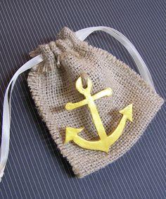 Nautical theme Anchor Burlap Wedding Favor by FavorsByGirlybows