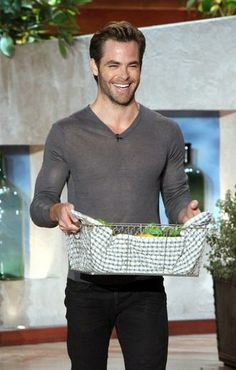 The very handsome Chris Pine bringing Ellen goodies from his garden.. Sounds dirty but it's not