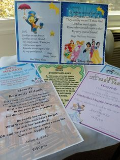 """Invitations"" to WDW dinner reservations - Great idea for a child of reading age!"