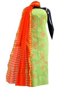 Kota Cotton Shadow Work Kurta Dupatta Set-Light Green&Orange