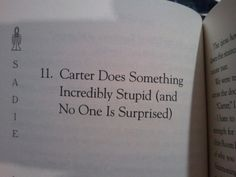 Rick Riordan's chapter names. This is funny because my brother's name is Carter... and he would do something stupid... and we wouldn't be totally surprised.