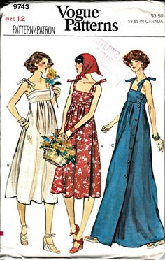 1970s Side Buttoned Sun Dress Pattern - VOGUE 9743 - 1979 Retro Sewing Pattern - UNCUT, Factory-Folded   Bust 34