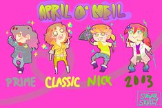 Aprils by ~anasaziflower3 on deviantART Classic is classic, 2003 is cute, prime is okay, 2012 is spunky