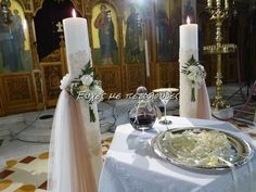 Wedding candles with fabrics and small bouquet … – Flowers Desing Ideas Greek Wedding, Wedding Day, Wedding Stuff, Small Flower Bouquet, Flower Decorations, Table Decorations, Church Flowers, Art Deco Wedding, Event Decor