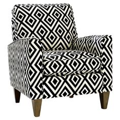 Midcentury-inspired Cosgrove Arm Chair with geometric-print upholstery and square taper legs. Color: Black and White Black And White Chair, Black White, Color Black, Colour, Designers Gráficos, Genius Ideas, Luxury Chairs, Take A Seat, Home And Deco