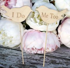 Wood Signs Wedding Cake Toppers Love Birds ' I Do' & 'Me Too'- Set of Two.instead of wedding cake toppers this would be cute holding in a photo! Bird Cake Toppers, Wedding Cake Toppers, Wedding Cakes, Wood Wedding Signs, Rustic Wedding, Wood Signs, Wedding Pins, Wedding Ideas, Wedding Bells