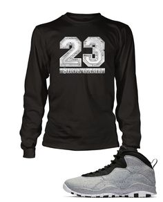 82e9ea285a9 New 23 Graphic T Shirt to Match Retro Air Jordan 10 Light Smoke Shoe