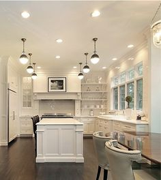 White Kitchen Design Ideas To Inspire You Love the all white kitchen with dark wood floors. All White Kitchen, White Kitchen Cabinets, New Kitchen, Kitchen Ideas, Kitchen Decor, Kitchen Layout, Black Cabinets, Kitchen Island, Kitchen Interior