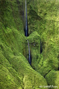 Honokohau Falls, Maui - Honokohau Falls is the tallest waterfall on Maui, dropping in two tiers at a total of 1,119 feet (341 m). The best way to see this amazing cascade is by helicopter because it is located in an inaccessible valley in the West Maui Mountains.