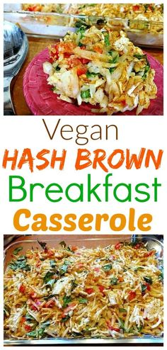 This oil and dairy-free version of the traditional American hashbrown casserole recipe came out delicious and heart-healthy. With potatoes, onions, red bell peppers, Creamy Vegan Cheese Sauce, and smo Vegan Breakfast Casserole, Vegan Casserole, Hashbrown Breakfast Casserole, Hash Brown Casserole, Vegetarian Breakfast, Vegan Breakfast Recipes, Casserole Recipes, Ham Breakfast, Mexican Breakfast