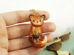 Burgundy Roses Red Fox Necklace Polymer Clay Pendant