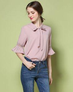 VIPme (VIPSHOP Global) - GUSTAVO ARANGO Pink Plain Turtleneck Bell Sleeve Sweet Cut Out Shirt - AdoreWe.com