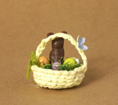 Cute Yellow Miniature Easter Basket for Your Dollhouse by DinkyWorld on Etsy