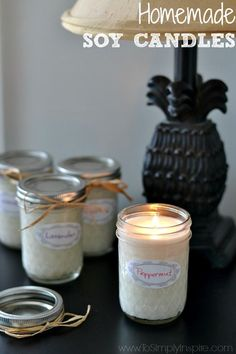 Easily make your own homemade soy candles using just 2 simple ingredients – soy wax flakes and the essential oil of your choice.  Enjoy 50% longer burning with soy candles and less toxins in the air.  | http://wwwToSimplyInspire.com