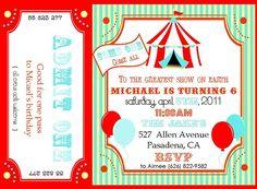 cute Circus Birthday Party invite...