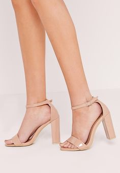 5bbee0154f Missguided - Block heel thick strap barely there sandals nude Nude Sandals, Nude  Heels,