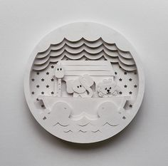 "Image of ""Noah's Ark"" Shadow Box Papercutting Template"