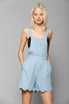Little White Lies Isla Chambray Scallop Romper #urbanoutfitters
