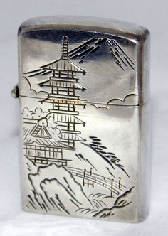 https://flic.kr/p/ysnDH4 | Vintage Sterling Silver Cigarette Lighter With Japanese Scene, Made In Japan