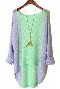 Purple Green Gradient Long Sleeve Dipped Hem Sweater