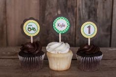 Tractor Cupcake Toppers Birthday - Brown & Green