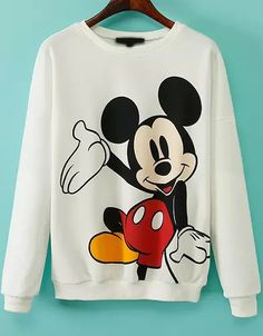 White Long Sleeve Mickey Print Sweatshirt - Sheinside.com