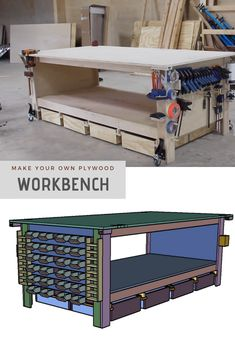 Apprenez à créer l'Ultimate Agile Plywood Workbench pour classement! The post How To Build the Ultimate Plywood Workbench (pour niveaux!) appeared first on Upload Box. Workbench With Storage, Rolling Workbench, Workbench Plans Diy, Workbench Organization, Portable Workbench, Mobile Workbench, Workbench Stool, Garage Workbench, Beginner Woodworking Projects