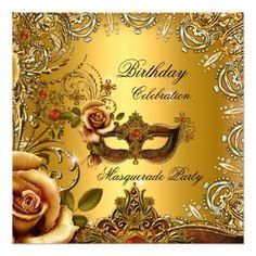Masquerade Party Invitations Masquerade Gold Mask Birthday Party Card