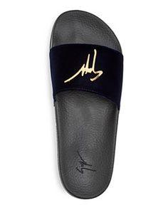 3671033d1e07 Giuseppe Zanotti - Men s Velvet Logo Slide Sandals High End Shoes