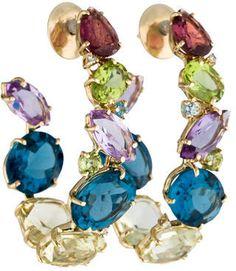Vianna Brasil Multi Gemstone and Diamond Hoop Earrings