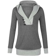Cupshe My Favorite Memory Hooded Top ($26) ❤ liked on Polyvore featuring tops, hoodies, sweatshirt hoodies, v-neck tops, hooded top, button hoodie and v neck hoodie