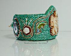 Beaded Bracelet  Sea Foam Green Bead Embroidery by Beadwork4Sale