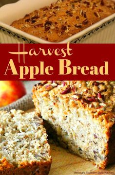 The homemade batter fo this Harvest Apple Bread is filled with pecans, coconut and chopped apple giving it an irresistible texture and flavor to boot. Fall Dessert Recipes, Fall Recipes, Holiday Recipes, Breakfast Recipes, Cupcake Recipes, Thanksgiving Recipes, Breakfast Ideas, Holiday Ideas, Apple Recipes