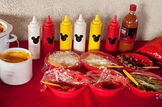 Hot dog bar at a Mickey Mouse Party #mickeymouse #hotdogbar