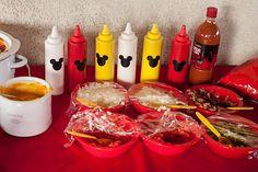 Hot dog bar at a Mickey Mouse Party #mickeymouse #hotdogbar