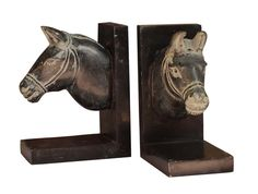 Bulk Wholesale Set of 2 Horse Design Bookends in Gray & Black Color – Hand-Carved in Black Palewa Stone – Bookshelf Accessories