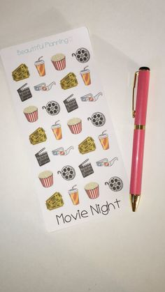 Movie Night / Cinema Planner Stickers.  An awesome sheet of 28 Cinema themed stickers - perfect for trips to the cinema with friends, date night or even cosy days in binge watching cheesy films.