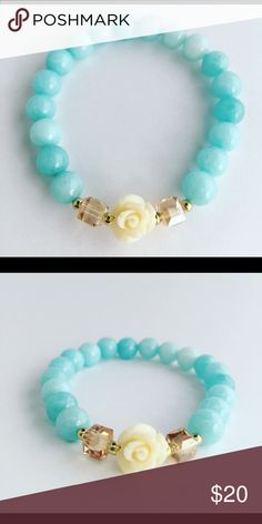 Baby Blue White Flower Agate Bracelet This bracelet is the kind of classic you can wear stacked or solo every day.  These bracelets are eye-catching as it is feminine.  Baby Blue Agate Beads lend an ethereal elegance to these bracelets. Featuring a stretchy fit, it looks chic worn solo or paired with similar styles.  D E T A I L S:  • 6mm Blue Agate Beads • 4mm Light Brown Square glass beads • Ceramic Flower • .5mm gold round beads • Strong elastic cord (1.0mm) • E6000 Jewelry & Bead glue…