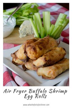 Air Fryer Buffalo Shrimp Egg Rolls - Crispy crunchy egg roll from your Air Fyer. Buffalo shrimp, cabbage and gorgonzola cheese, make the perfect egg roll! Appetizer Dishes, Appetizer Recipes, Dinner Recipes, Spicy Recipes, Healthy Recipes, Drink Recipes, Shrimp Egg Rolls, Buffalo Shrimp, Good Enough To Eat