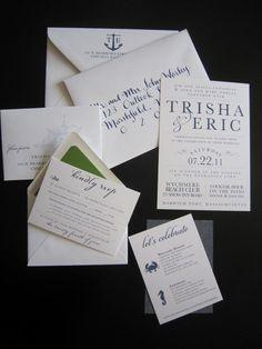 Harwich Port Nautical Wedding Invitation by seahorsebendpress