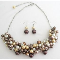 Price :$18.49 Chunky Necklace In Multi Colors Prom Graduation Jewelry Beautiful Gorgeous Set Material : 8mm Glass pearls Color : Multicolor Necklace Length : 16 inches with 2 inches extension Earrings Length : 3/4 inch Earrings Type : French hook nickel free