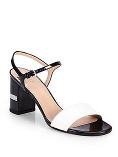 91b826166cf6 Stuart Weitzman Nusolo Bicolor Patent Leather Sandals Leather Sandals