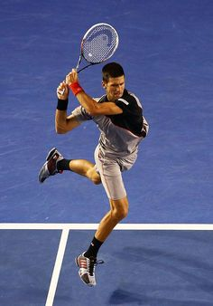 Novak Djokovic in action during his 3rd Round match at the 2014 Australian Open