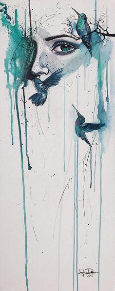 Fervent Original Acrylic Ink & Watercolor Painting Art By Jen Duran